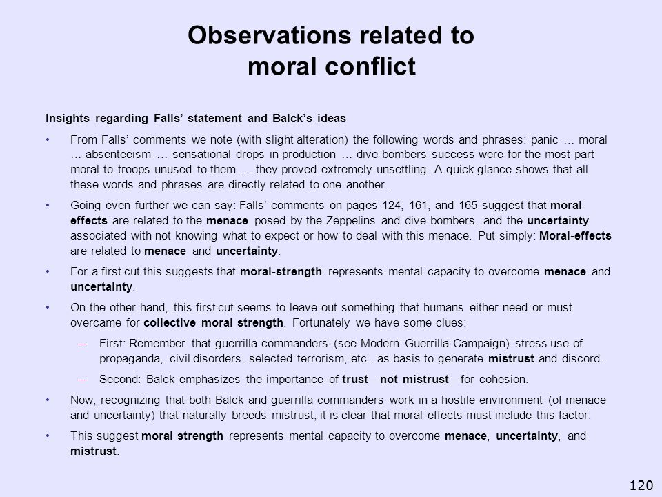 Observations related to moral conflict