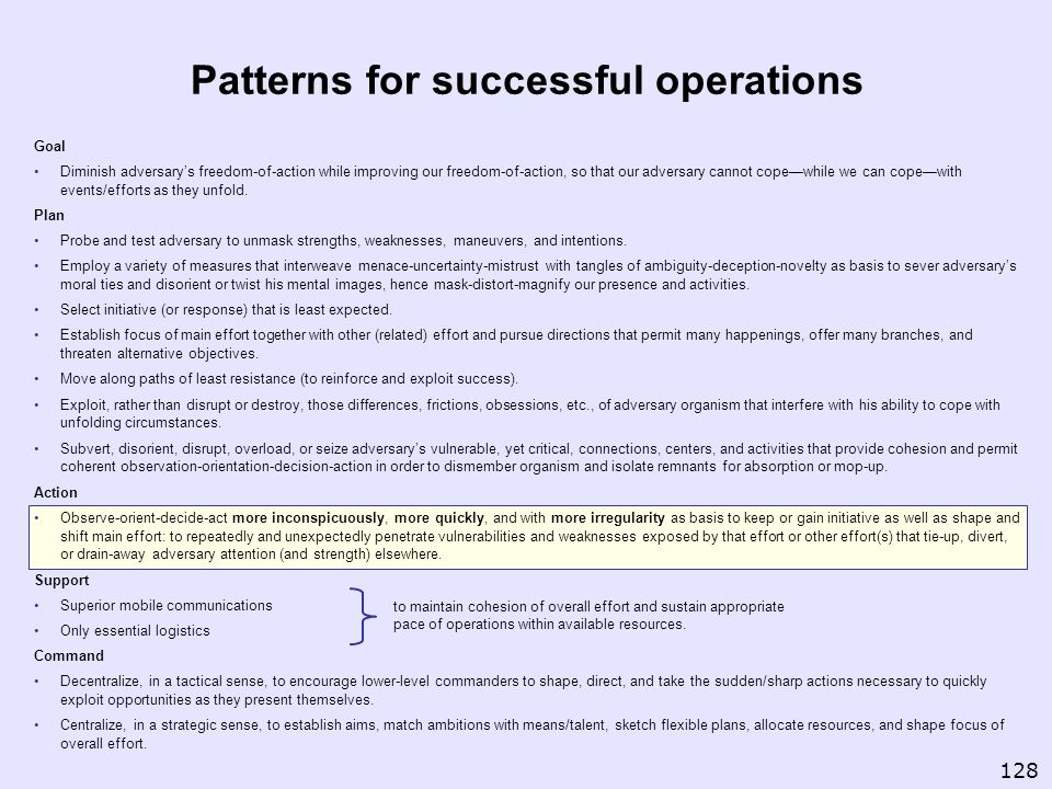 Patterns for successful operations
