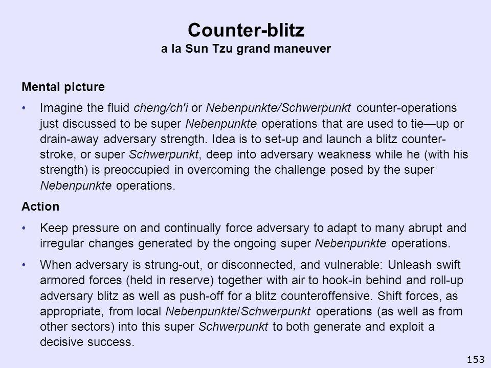 Counter-blitz a la Sun Tzu grand maneuver