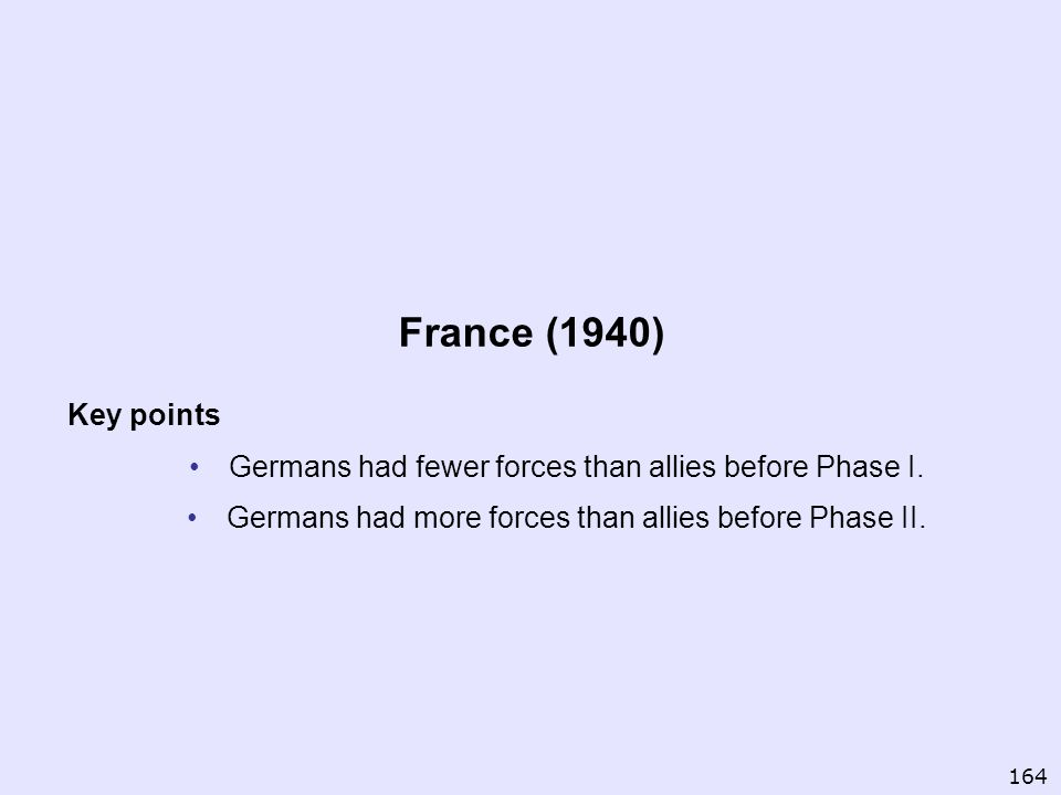 France (1940) Key points. Germans had fewer forces than allies before Phase I. Germans had more forces than allies before Phase II.