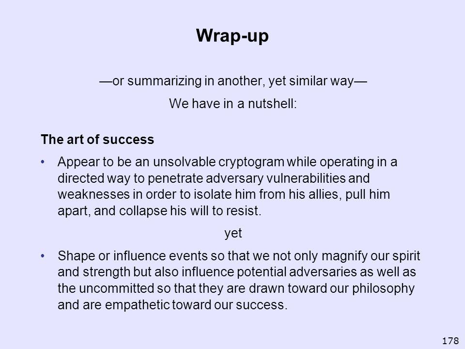 —or summarizing in another, yet similar way—
