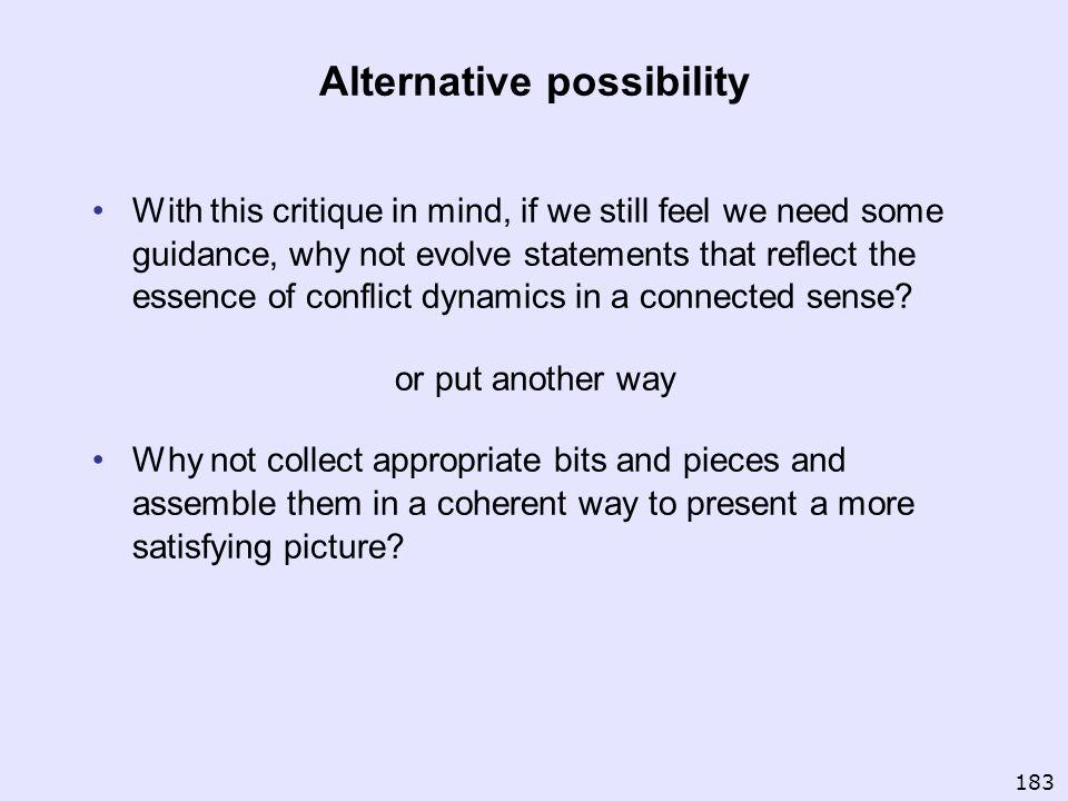 Alternative possibility