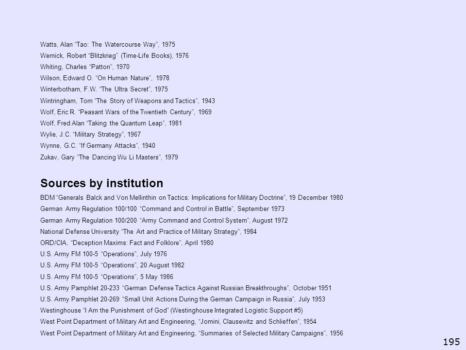 Sources by institution