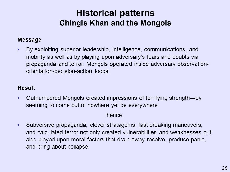 Historical patterns Chingis Khan and the Mongols