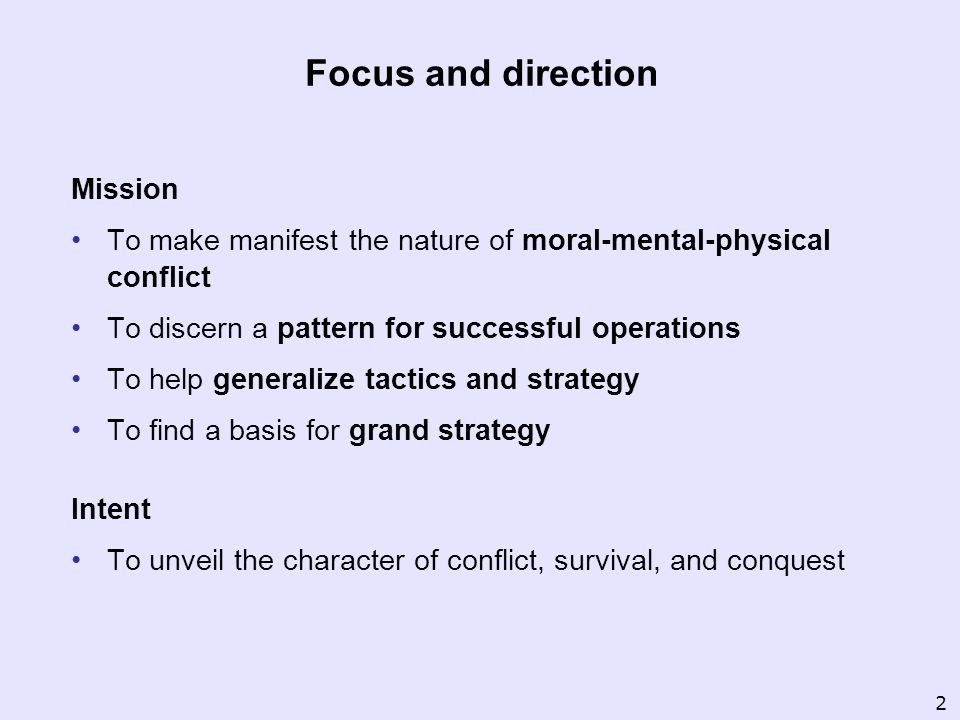 Focus and direction Mission