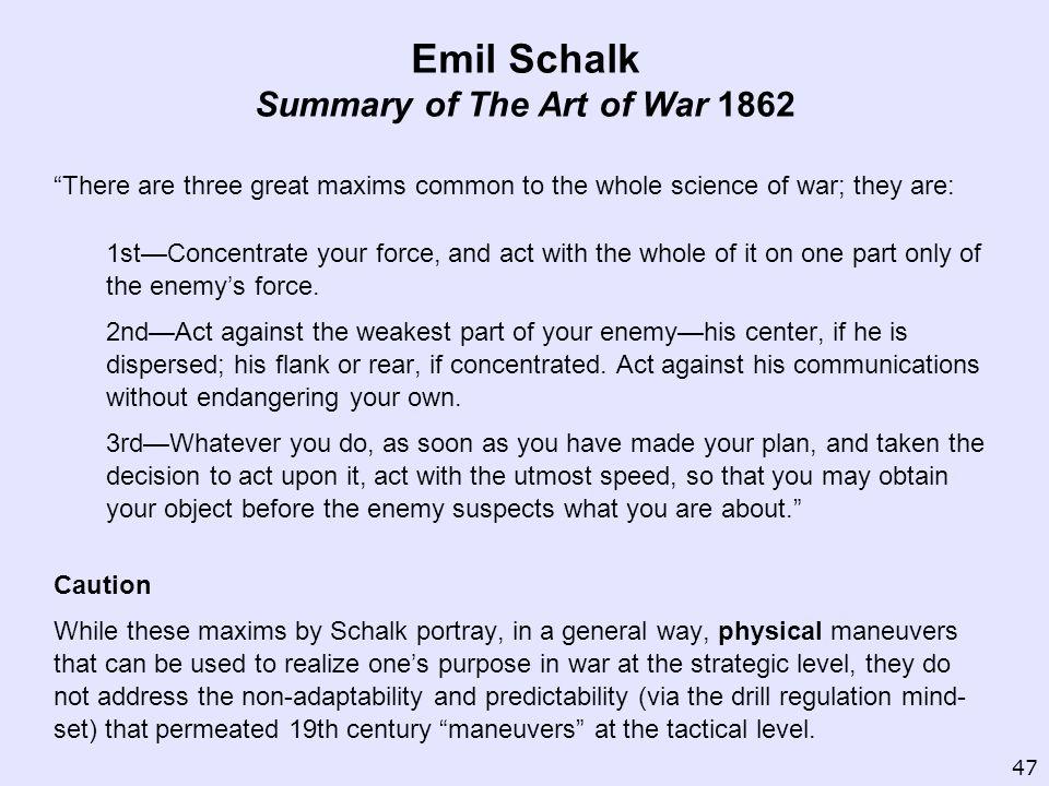 Emil Schalk Summary of The Art of War 1862