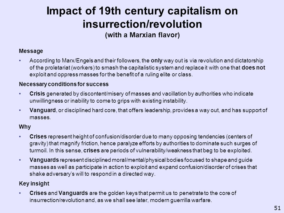 Impact of 19th century capitalism on insurrection/revolution (with a Marxian flavor)