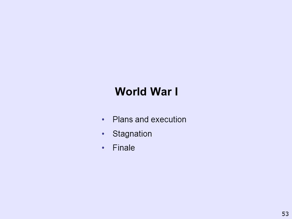 Plans and execution Stagnation Finale