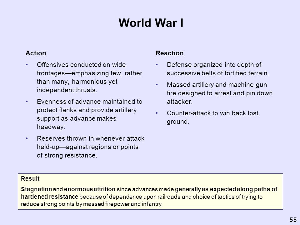 World War I Action. Offensives conducted on wide frontages—emphasizing few, rather than many, harmonious yet independent thrusts.