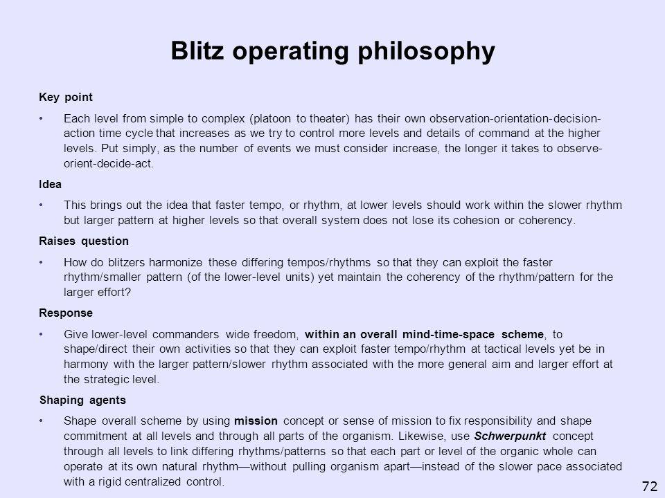 Blitz operating philosophy