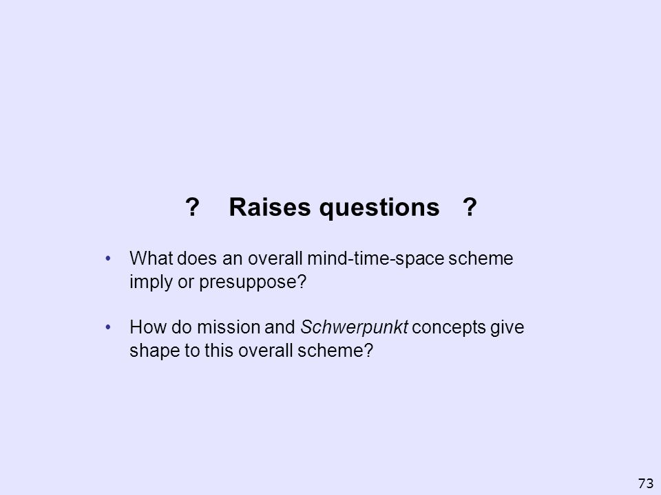 Raises questions What does an overall mind-time-space scheme imply or presuppose