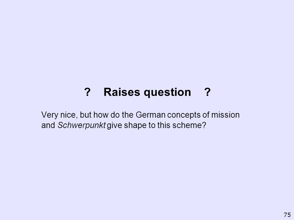 Raises question Very nice, but how do the German concepts of mission and Schwerpunkt give shape to this scheme