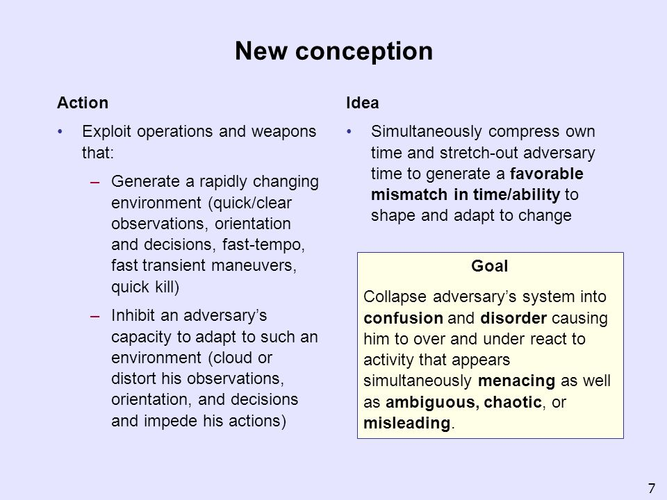 New conception Action Exploit operations and weapons that: