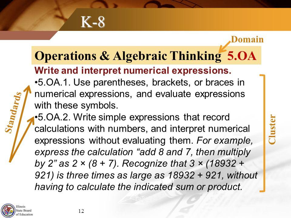 K-8 Operations & Algebraic Thinking 5.OA Domain