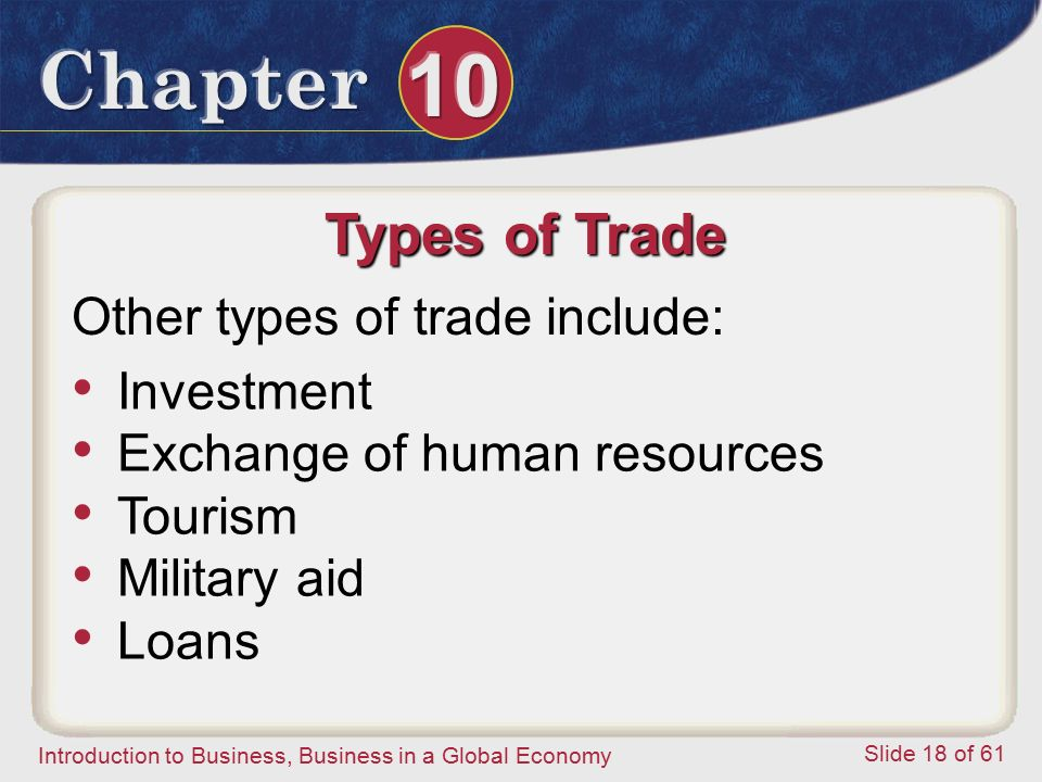 Types of Trade Other types of trade include: Investment