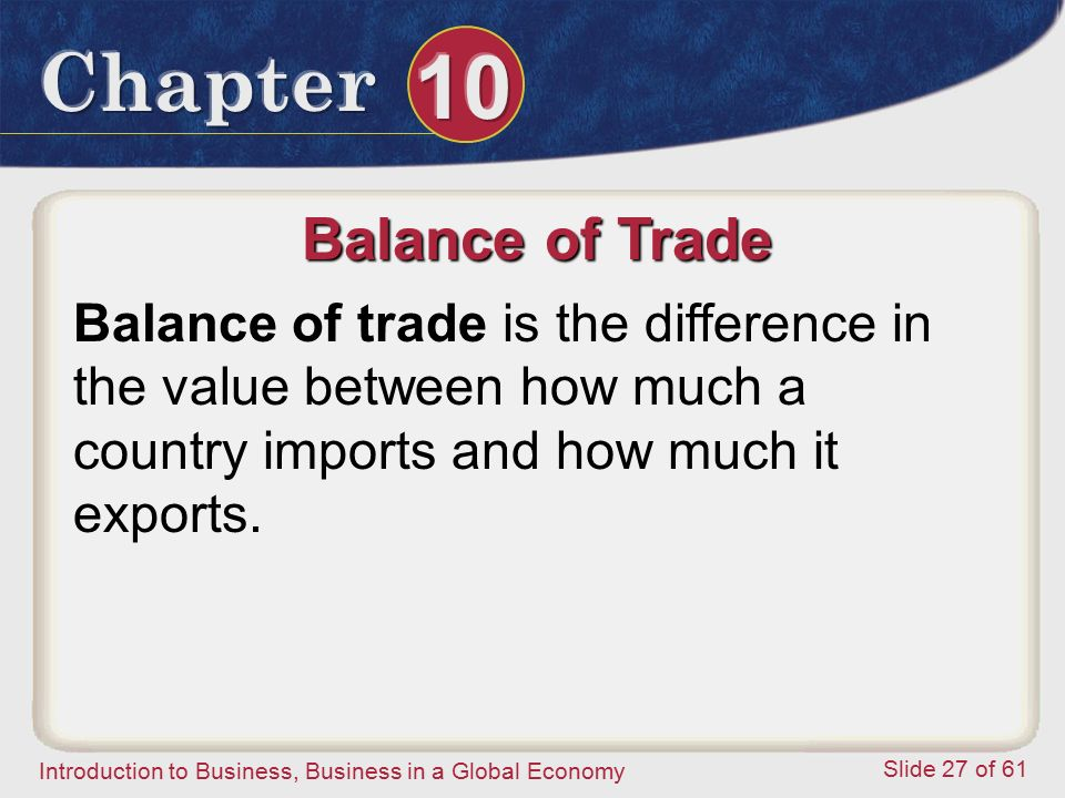 Balance of Trade Balance of trade is the difference in the value between how much a country imports and how much it exports.