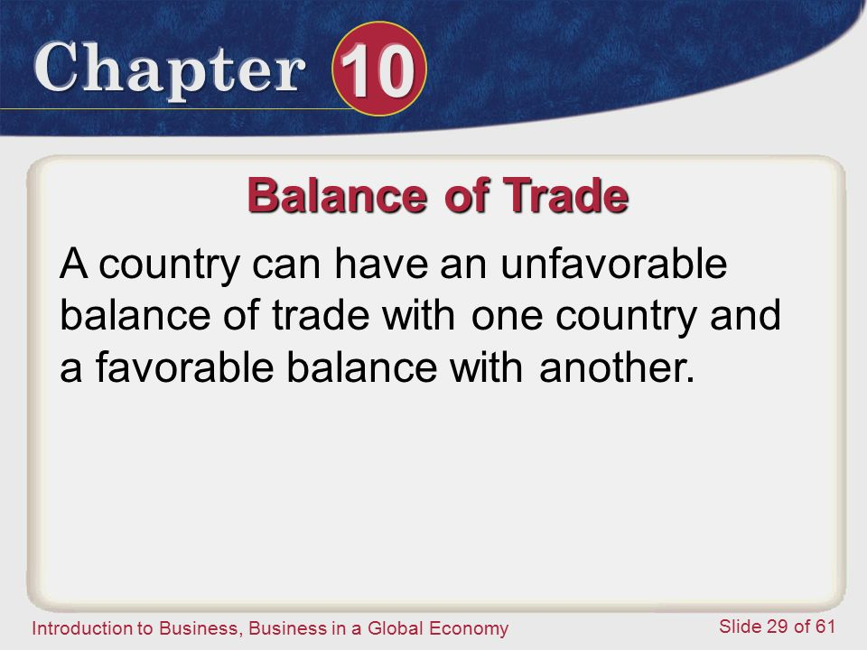Balance of Trade A country can have an unfavorable balance of trade with one country and a favorable balance with another.