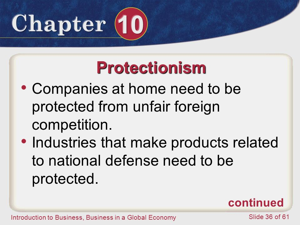 Protectionism Companies at home need to be protected from unfair foreign competition.