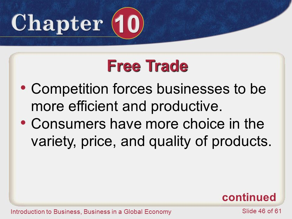Free Trade Competition forces businesses to be more efficient and productive.