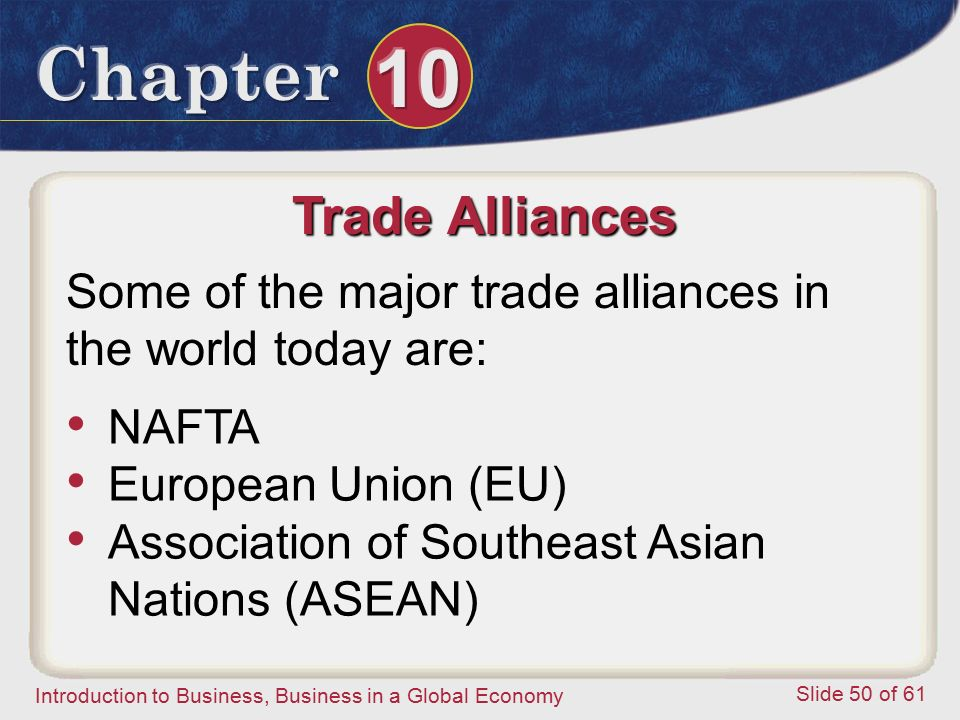 Trade Alliances Some of the major trade alliances in the world today are: NAFTA. European Union (EU)