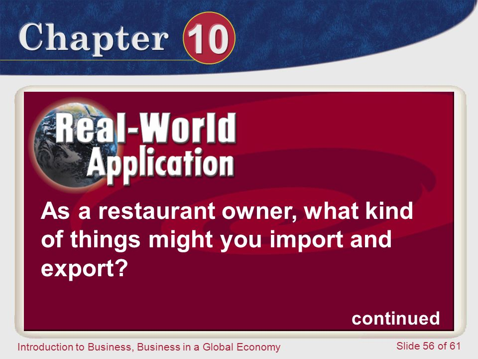 As a restaurant owner, what kind of things might you import and export