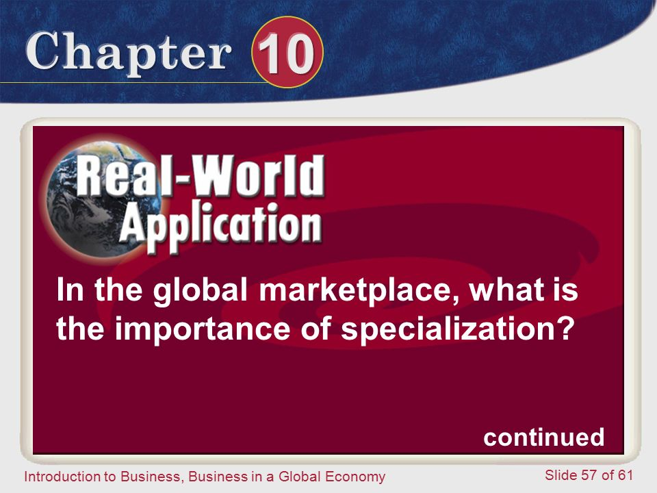 In the global marketplace, what is the importance of specialization