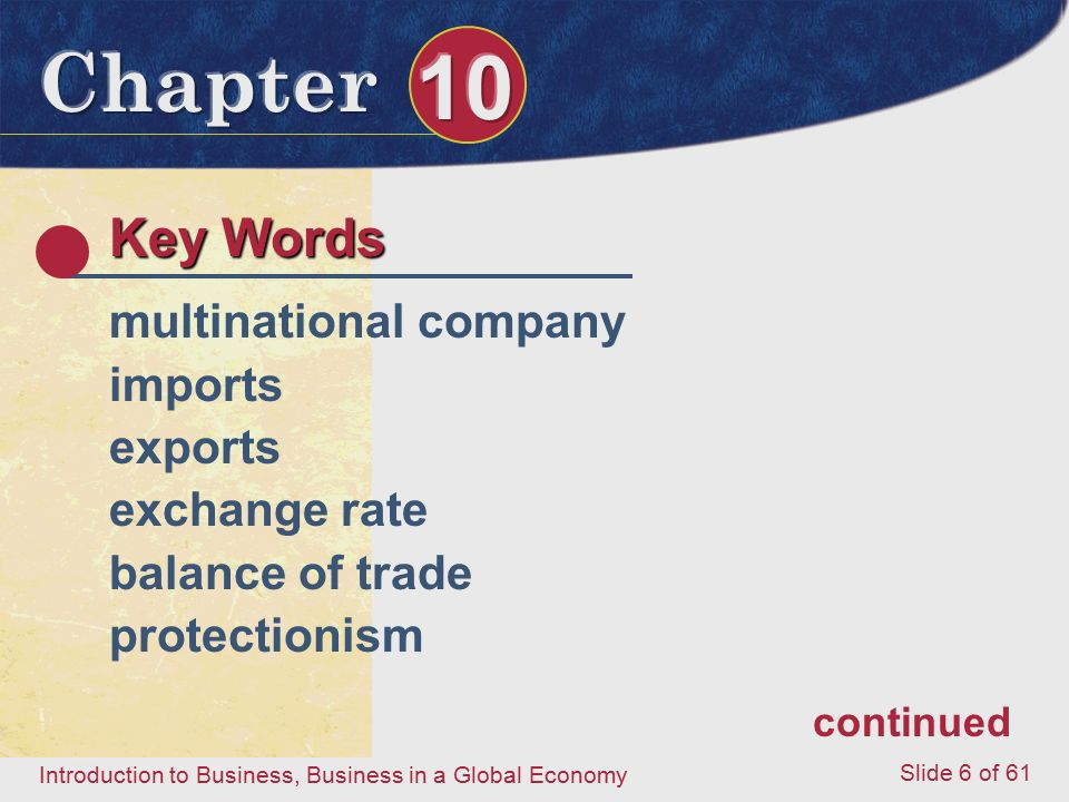 Key Words multinational company imports exports exchange rate
