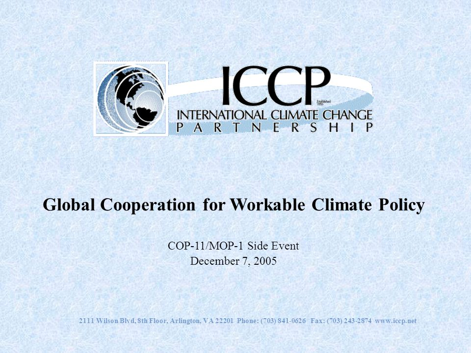 Global Cooperation for Workable Climate Policy