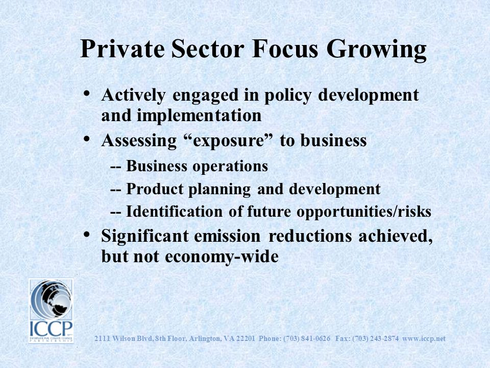 Private Sector Focus Growing