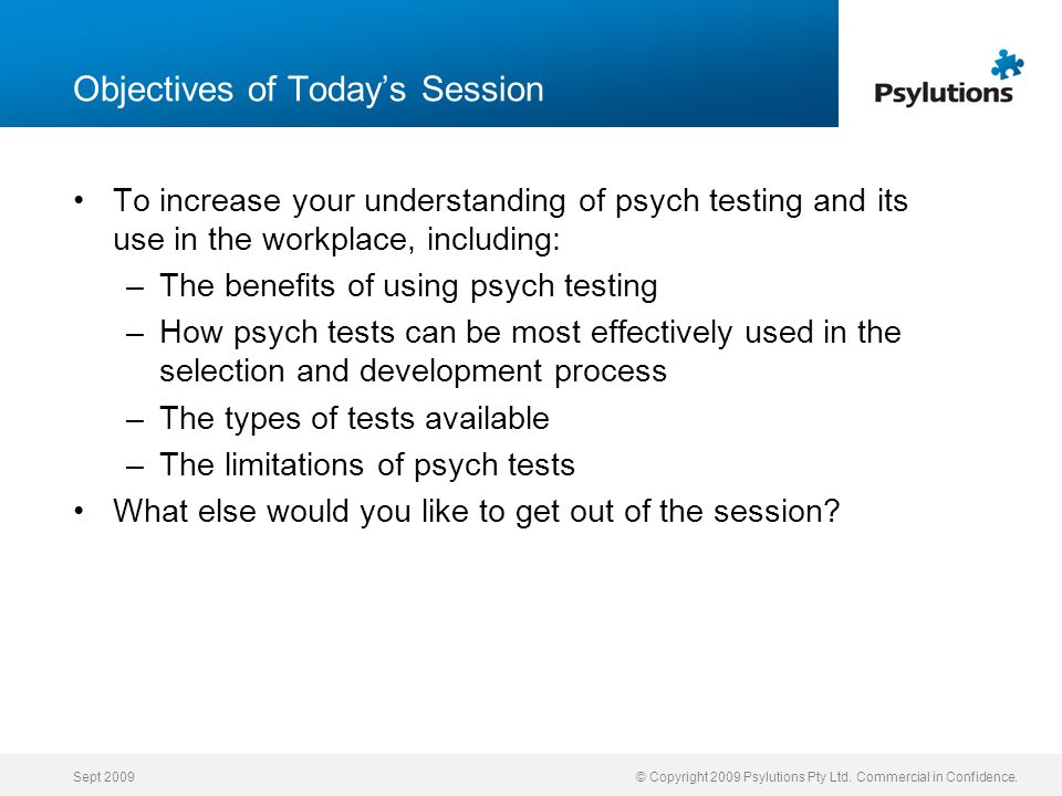 Objectives of Today's Session