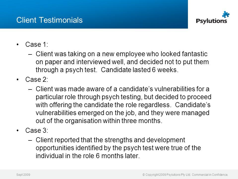 Client Testimonials Case 1: