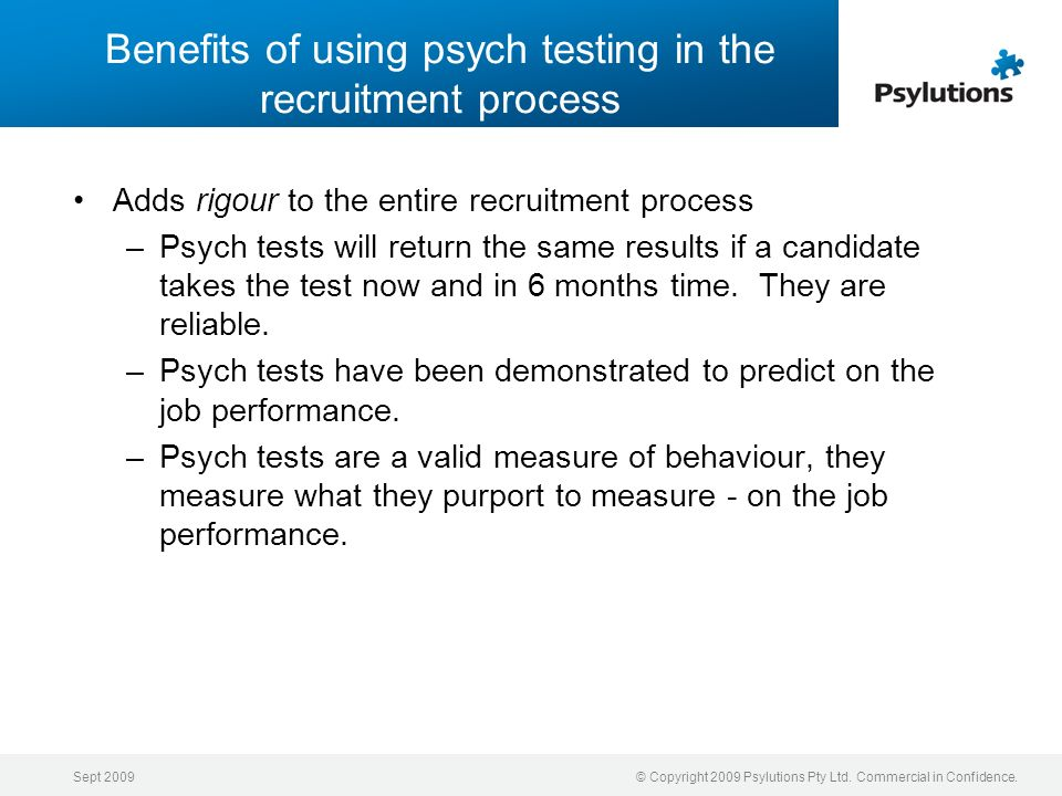 Benefits of using psych testing in the recruitment process