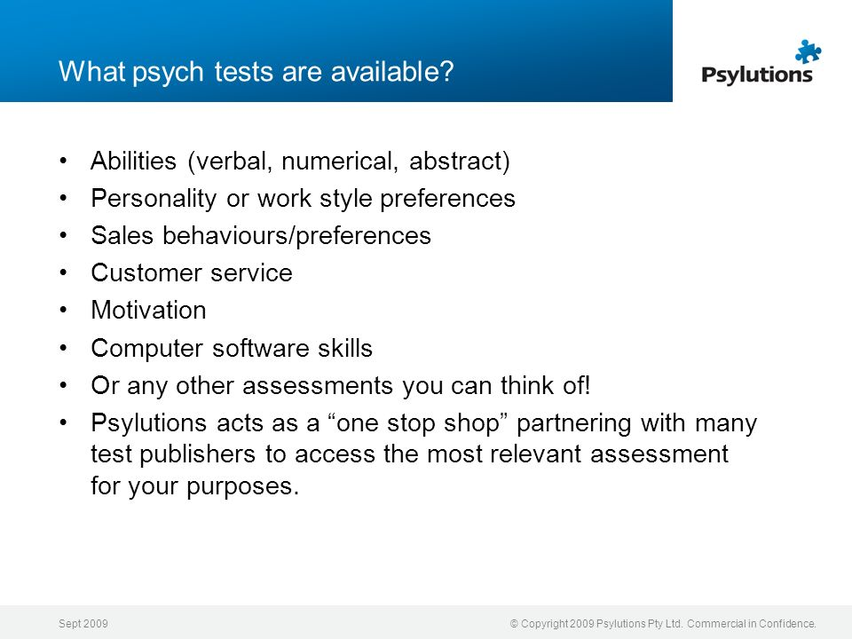 What psych tests are available