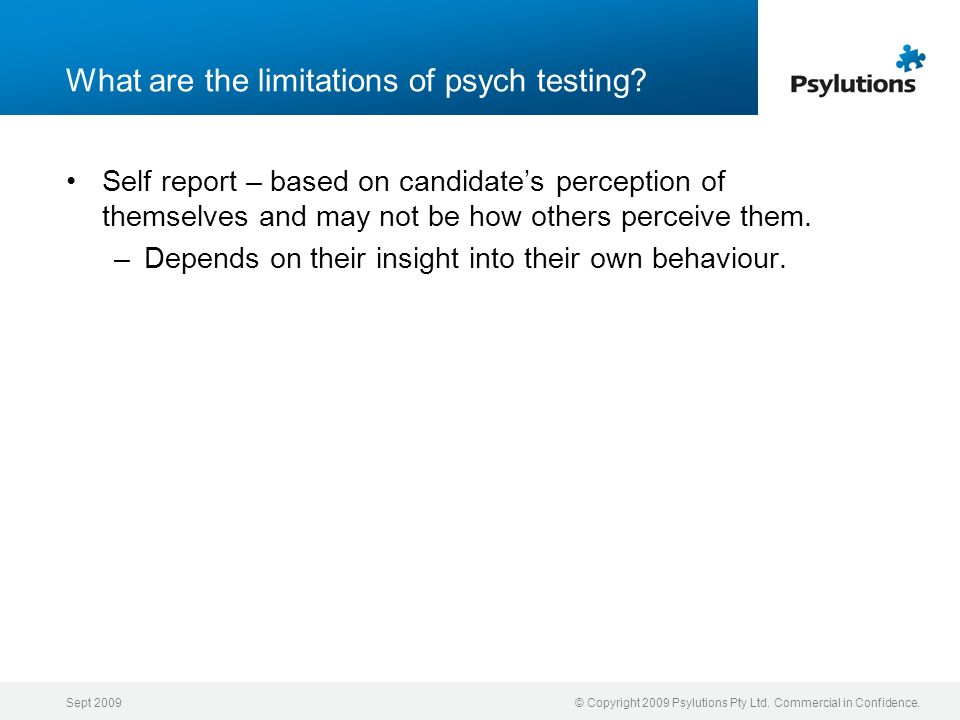What are the limitations of psych testing