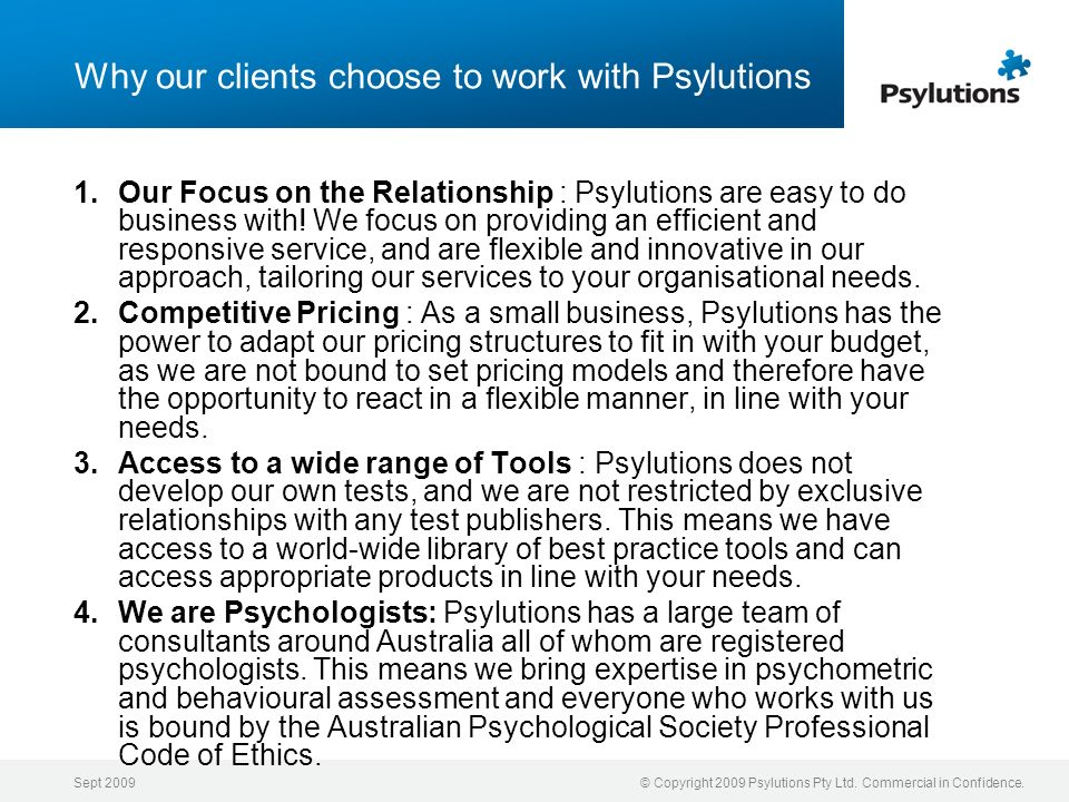 Why our clients choose to work with Psylutions