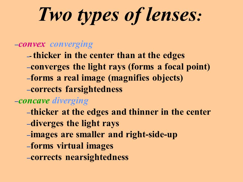 Two types of lenses: convex converging