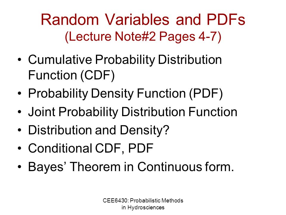 Random Variables and PDFs (Lecture Note#2 Pages 4-7)