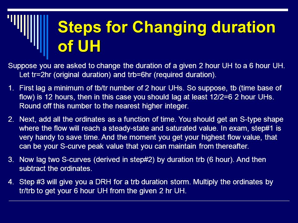 Steps for Changing duration of UH