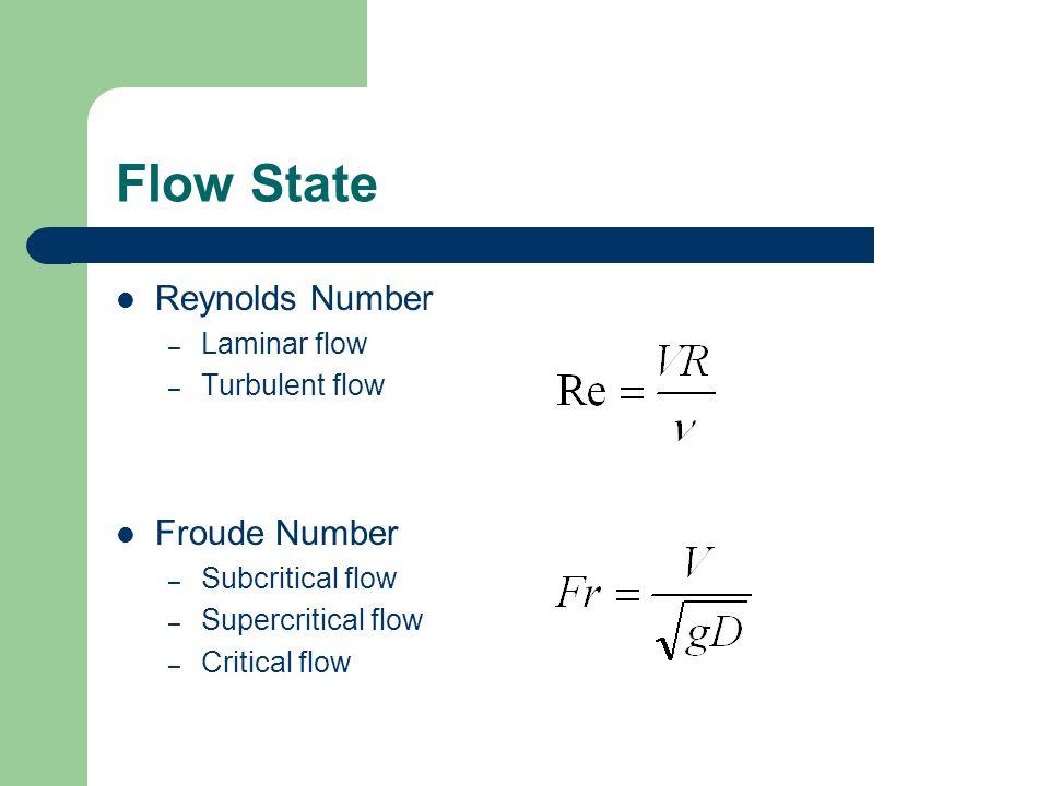 Flow State Reynolds Number Froude Number Laminar flow Turbulent flow