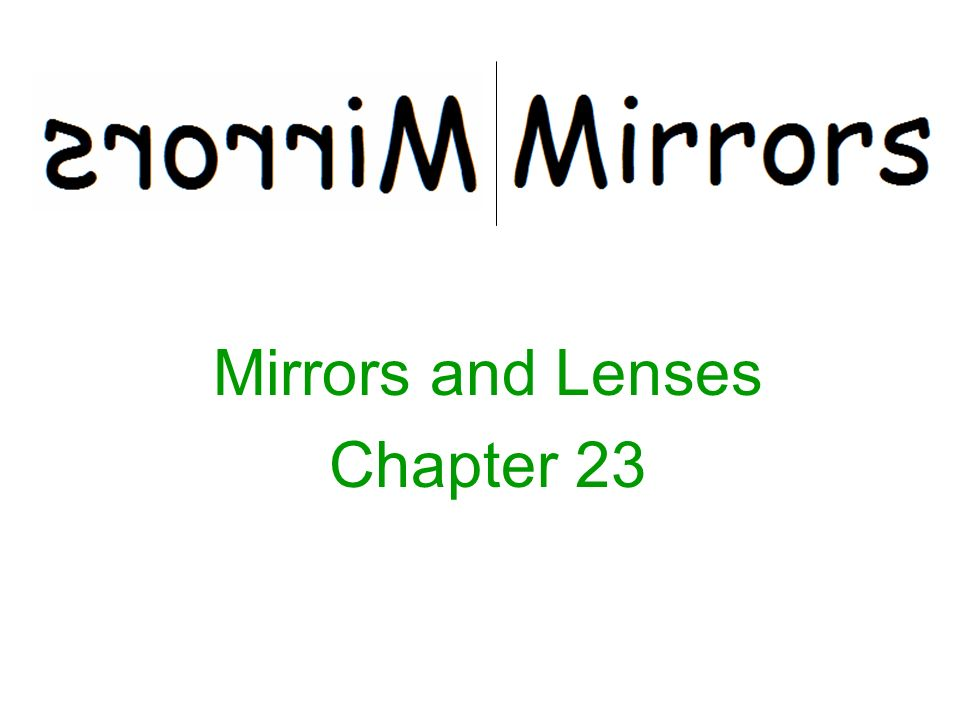 Mirrors and Lenses Chapter 23