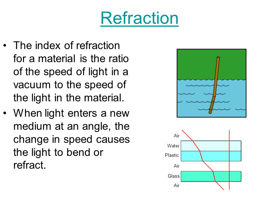 Refraction The index of refraction for a material is the ratio of the speed of light in a vacuum to the speed of the light in the material.