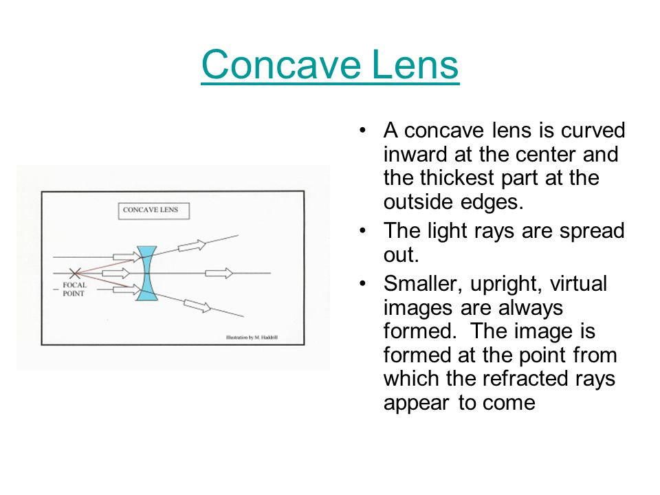 Concave Lens A concave lens is curved inward at the center and the thickest part at the outside edges.
