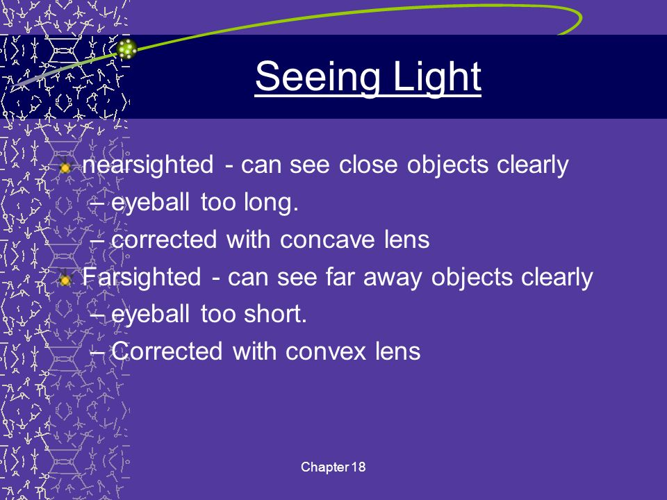Seeing Light nearsighted - can see close objects clearly