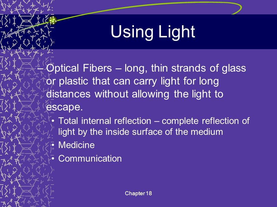 Using Light Optical Fibers – long, thin strands of glass or plastic that can carry light for long distances without allowing the light to escape.
