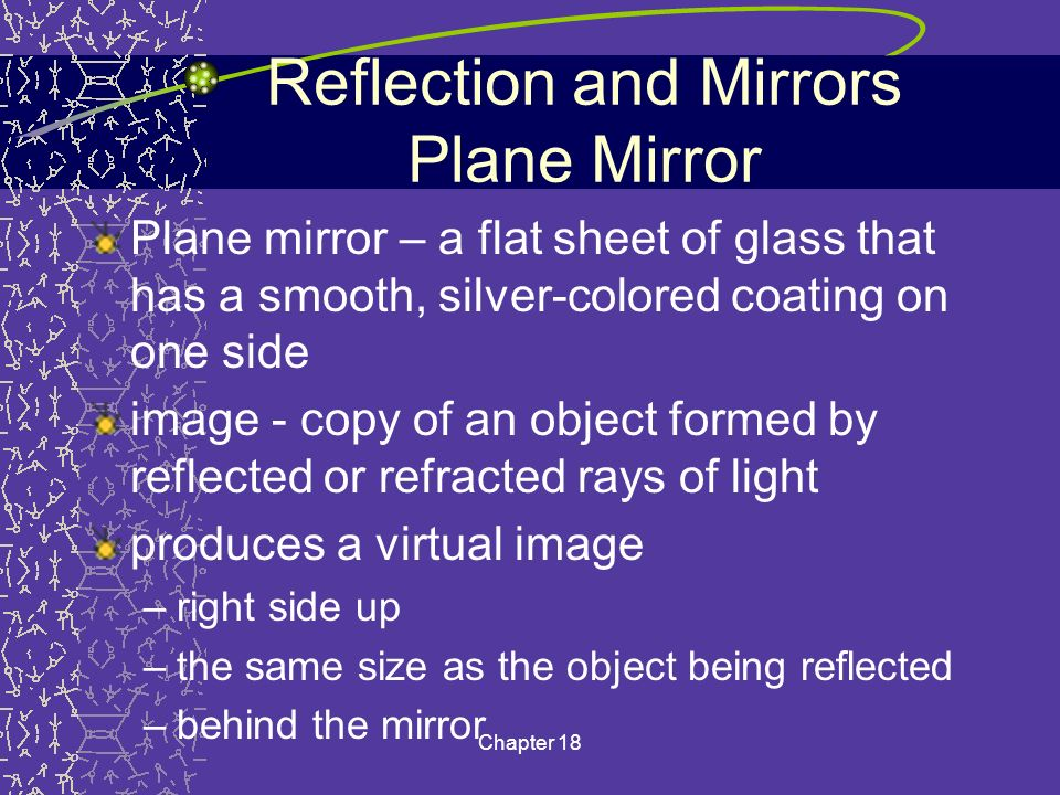 Reflection and Mirrors Plane Mirror