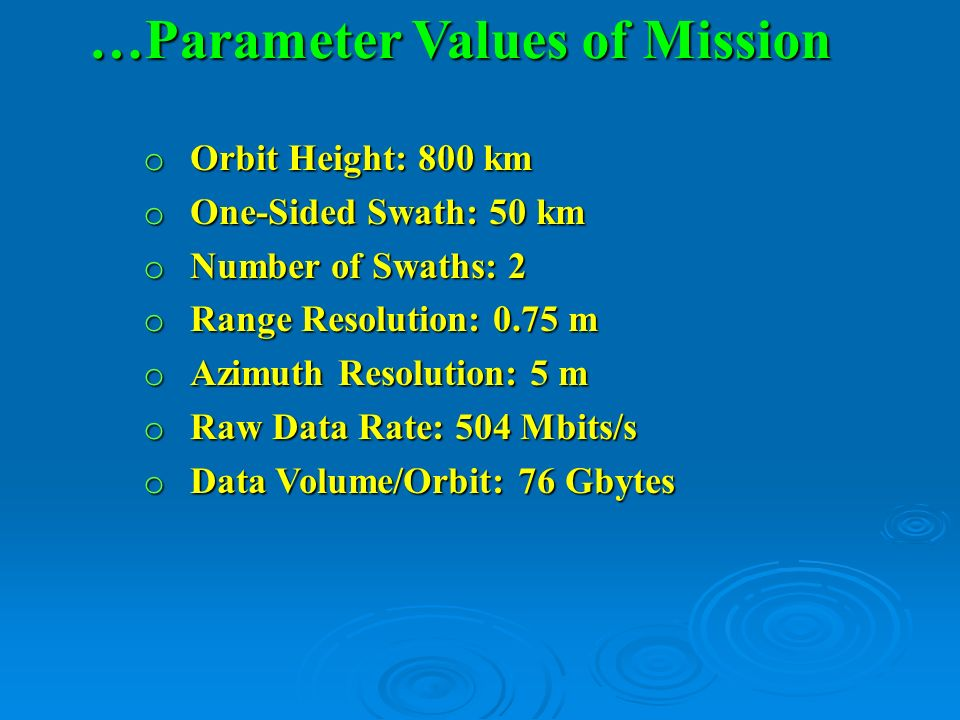 …Parameter Values of Mission
