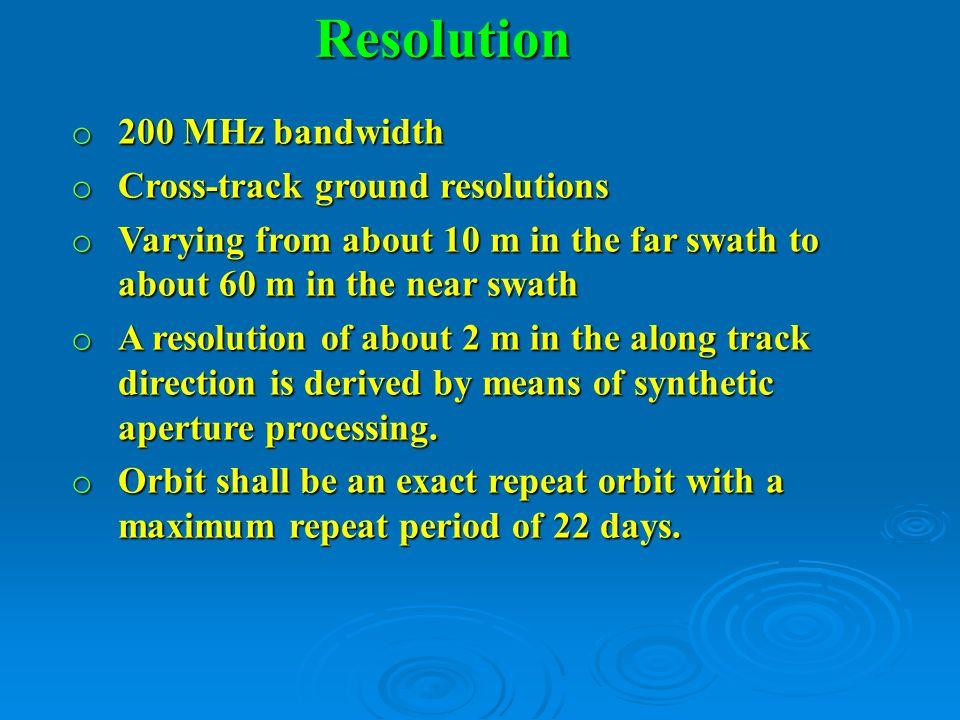 Resolution 200 MHz bandwidth Cross-track ground resolutions