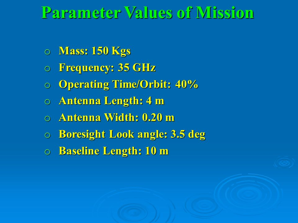Parameter Values of Mission