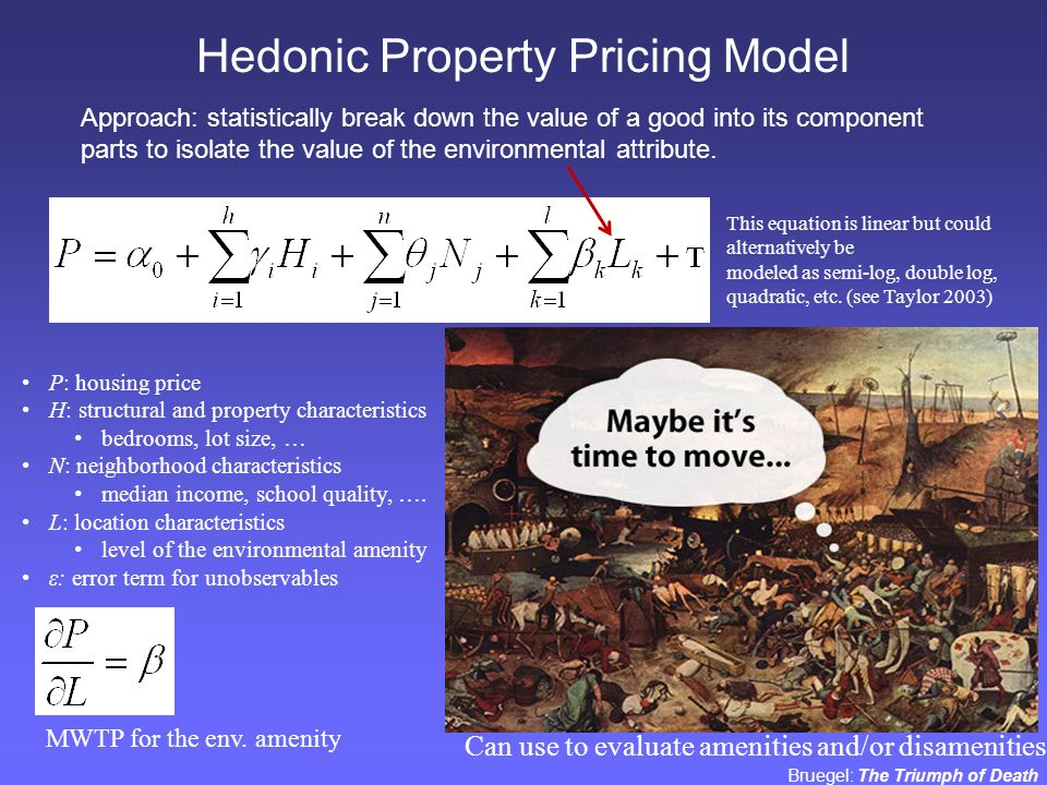 Hedonic house pricing model