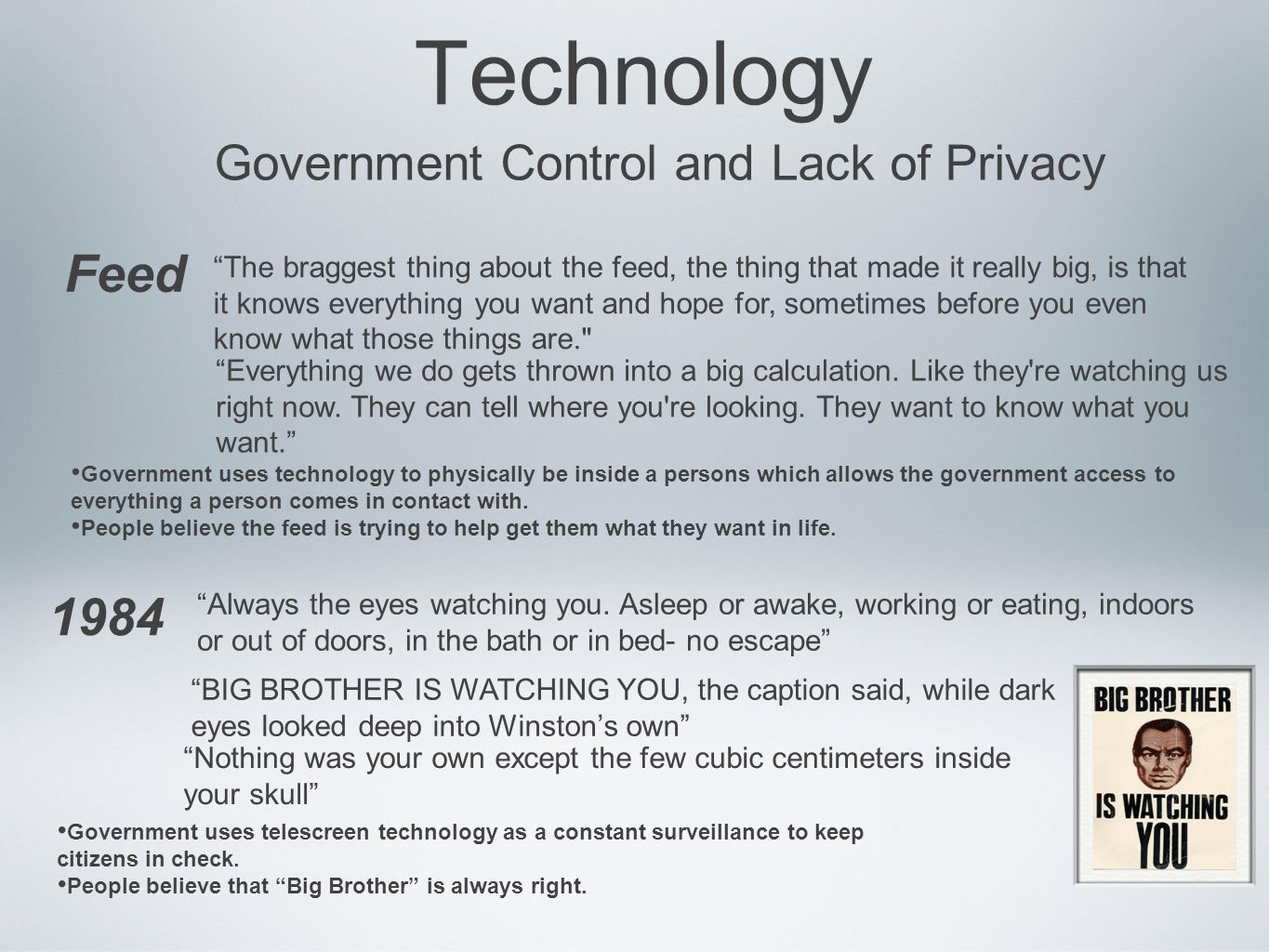 1984 lack or privacy Read chapter self-confidence and performance: can such techniques as sleep learning and hypnosis improve performance do we sometimes confuse familiarity.